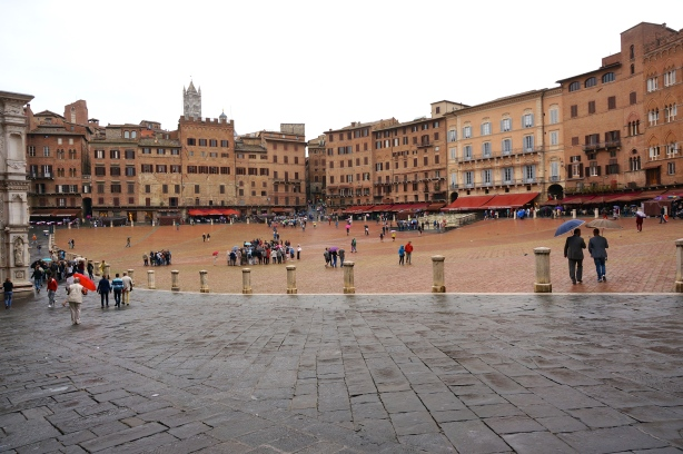 The Piazza del Campo, the central piazza of Siena where the famous horse race is held twice each year.